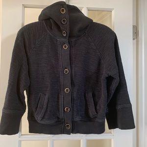 Lucky 3/4 Sleeve Button Up Sweatshirt Sz L